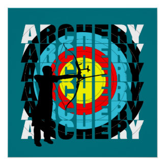 Archery Sport Cool Typography Archers Graphic Poster
