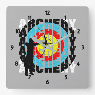Archery Sport Cool Typography Archers Graphic Square Wall Clock