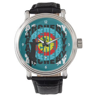 Archery Sport Cool Typography Archers Graphic Wristwatch