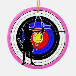 Archery & target 02 round ceramic ornament
