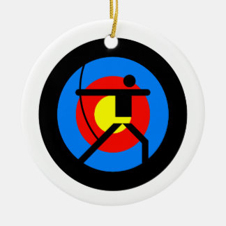 Archery Target and Archer Round Ceramic Ornament