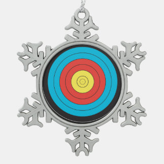 """""""Archery Target"""" design gifts and products Snowflake Pewter Christmas Ornament"""