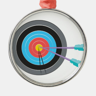 Archery Target Silver-Colored Round Ornament
