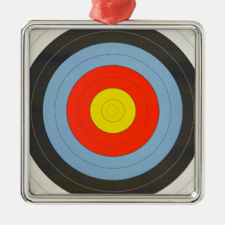 Archery Target Silver-Colored Square Ornament