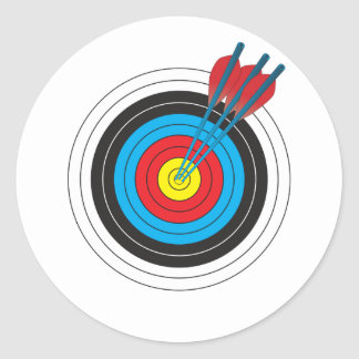 Archery Target with Arrows Classic Round Sticker