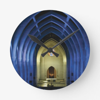 Arches in the blue church round clock