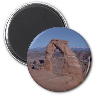 arches national park arch on side of cliff 2 inch round magnet