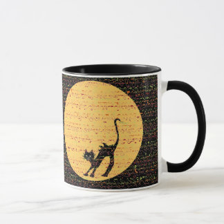 Arching Black Cat and Full Moon Festive Mug