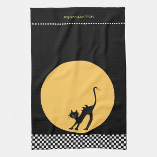Arching Black Cat and Full Moon Kitchen Towel
