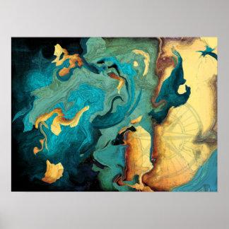 Archipelago Abstract Aquarmarine Poster