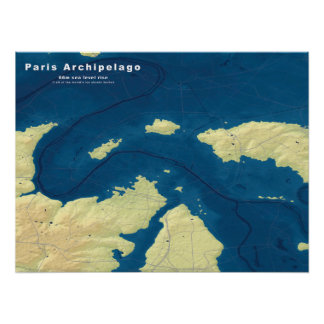 Archipelago of Paris--Drowned Cities Map Poster