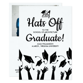 Architect Graduation Hats Off Grad Photo Party Card