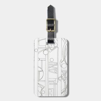 Architect's Dream-Black And White Geometric Luggage Tag