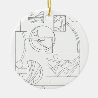 Architect's Dream Three-Black And White Drawing Ornaments