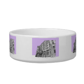 Architectture in lilac cat bowl
