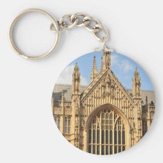 Architectural detail of Gothic window Basic Round Button Keychain