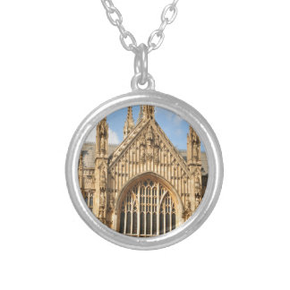 Architectural detail of Gothic window Silver Plated Necklace