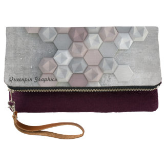 Architectural Hexagons Eggplant Fold Over Clutch