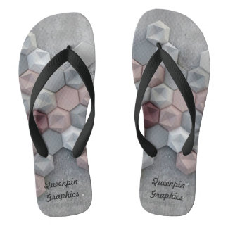 Architectural Hexagons Wide Strap Unisex Flipflops