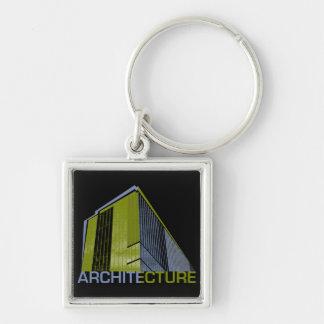 Architecture Graphic Silver-Colored Square Keychain