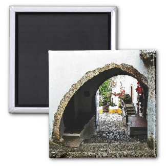 Archway in Obidos Portugal Square Magnet