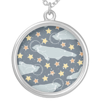 Arctic Animals in Space Silver Plated Necklace