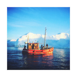 arctic fishing canvas stretched canvas print