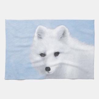 Arctic Fox Painting - Original Wildlife Art Kitchen Towel