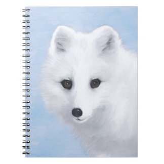 Arctic Fox Painting - Original Wildlife Art Spiral Notebook