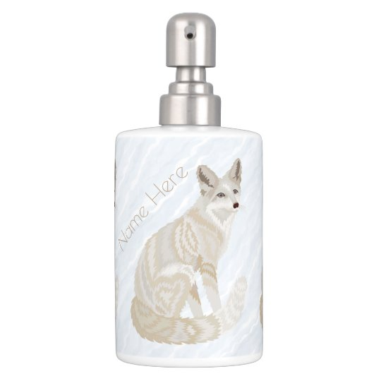 Arctic Fox Retro Chic Bath Decor Add Your Name Soap Dispenser And Toothbrush Holder