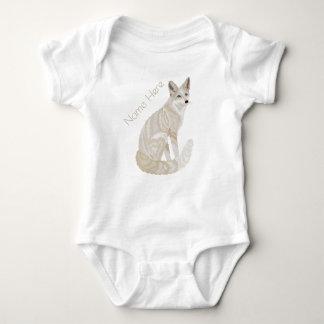 Arctic Fox Retro Chic Cute Animal Theme Fashion Baby Bodysuit