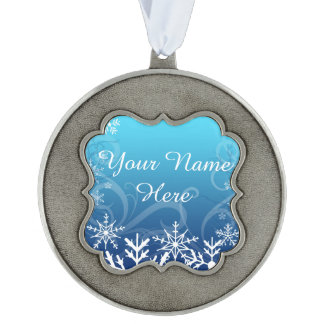 Arctic Frozen Snowdrift Personalized Scalloped Pewter Ornament