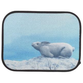 Arctic hare, lepus arcticus, or polar rabbit car carpet