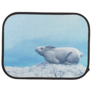 Arctic hare, lepus arcticus, or polar rabbit car mat