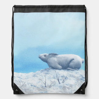 Arctic hare, lepus arcticus, or polar rabbit drawstring bag