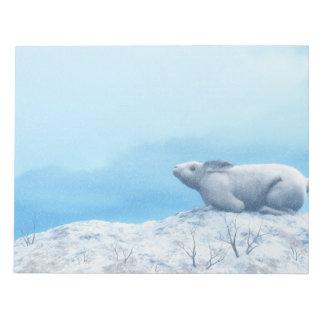 Arctic hare, lepus arcticus, or polar rabbit notepad