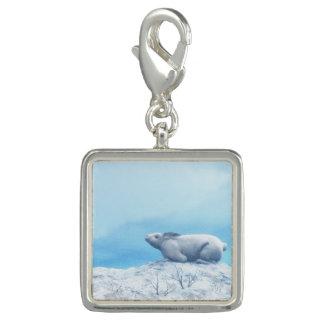 Arctic hare, lepus arcticus, or polar rabbit photo charm