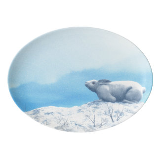 Arctic hare, lepus arcticus, or polar rabbit porcelain serving platter