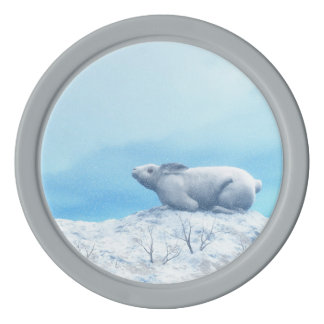 Arctic hare, lepus arcticus, or polar rabbit set of poker chips