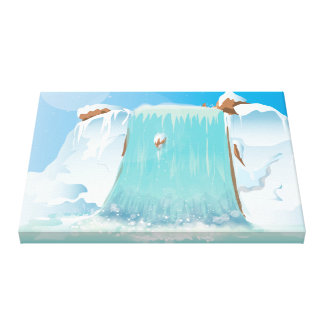 Arctic Ice Waterfall Stretched Canvas Prints