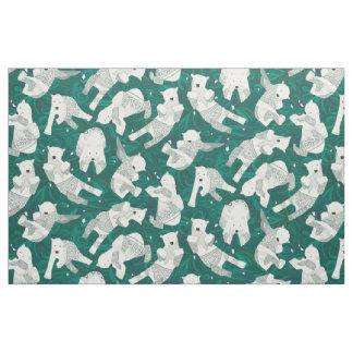 arctic polar bears green fabric
