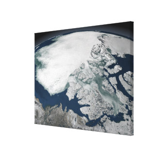 Arctic sea ice above North America Gallery Wrapped Canvas
