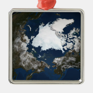 Arctic sea ice Silver-Colored square ornament