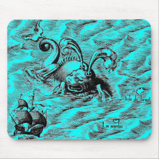 Arctic Sea Monster and Sailing Ship Mouse Pad