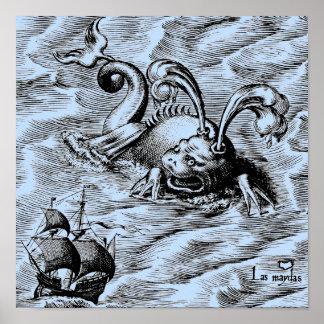 Arctic Sea Monster and Sailing Ship Poster