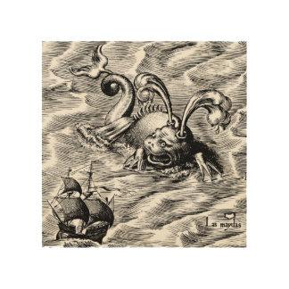 Arctic Sea Monster and Sailing Ship World Map Wood Print