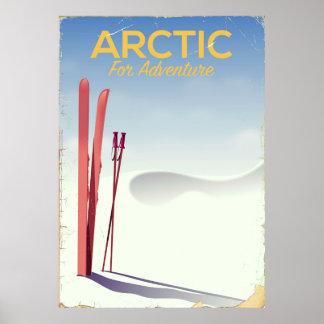 Arctic ski vintage adventure exploration poster