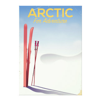 Arctic ski vintage adventure exploration poster canvas print