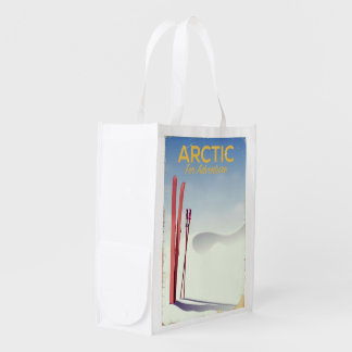 Arctic ski vintage adventure exploration poster reusable grocery bag