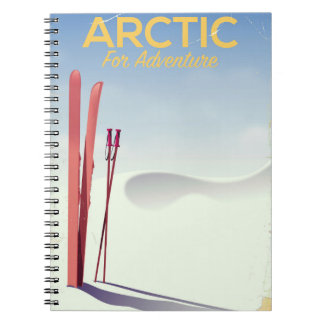 Arctic ski vintage adventure exploration poster spiral notebook